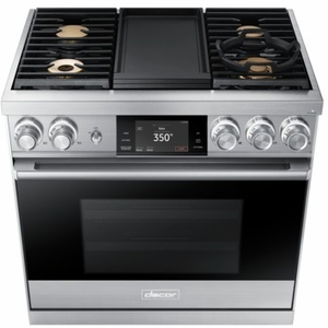 "DOP36M94DLS Dacor 36"" Modernist Collection Pro Natural Gas Dual-Fuel Steam Range with Griddle - Stainless Steel"