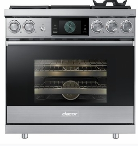 """DOP36M94DPS Dacor 36"""" Modernist Collection Pro Liquid Propane Dual-Fuel Steam Range with Griddle - Stainless Steel"""