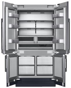 """DRF427500AP Dacor 42"""" Contemporary French 4 Door Bottom Mount Refrigerator with FreshZone Drawer and Triple Cooling - Custom Panel"""