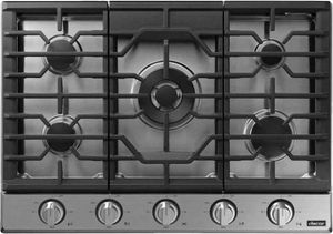 """DTG30P875NS Dacor 30"""" Transitional Smart Gas Cooktop with 5 Sealed Burners and Griddle - Silver Stainless Steel"""