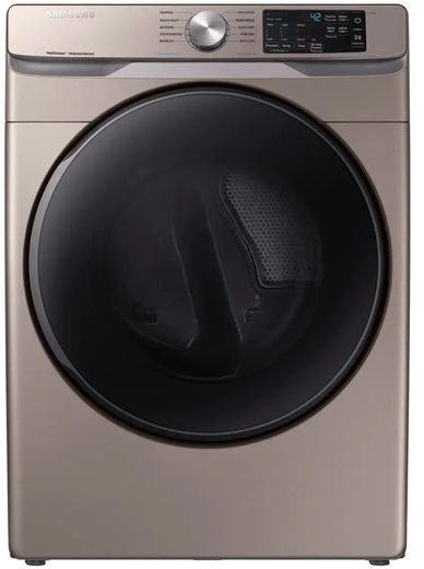 """DVE45R6100C Samsung 27"""" SmartCare 7.5 cu ft. Electric Front-Load Dryer with Steam Sanitize+ Cycle and Sensor Dry - Champagne"""