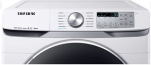 """DVE45R6300W Samsung 27"""" Bixby Enabled Electric Front-Load Dryer with Steam Sanitize+ Cycle and Sensor Dry - White"""