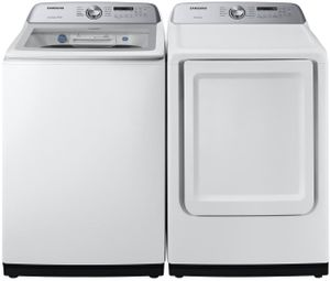 """DVE50R5200W Samsung 27"""" Smart Care Electric Front-Load Dryer with Steam 10 Preset Drying Cycles and Sensor Dry - White"""