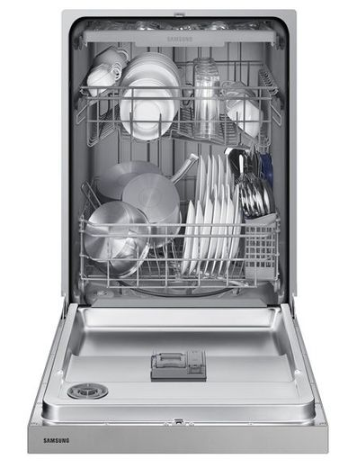 "DW80N3030UW Samsung 24"" Front Control Dishwasher with 4 Wash Cycles and 3rd Rack - White"
