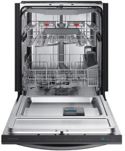 "DW80R7061UG Samsung 24"" Built In Dishwasher with StormWash and AutoRelease Door - Flat Handle - Fingerprint Resistant Black Stainless Steel"