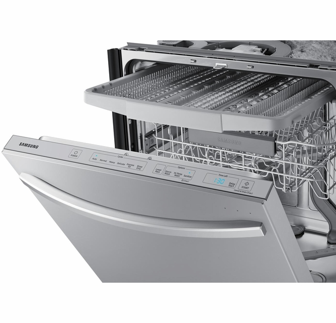 Dw80r7061us Samsung 24 Built In Dishwasher With Stormwash And Autorelease Door Fingerprint Resistant Stainless Steel