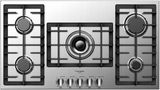 "F4GK36S1 Fulgor 36"" 400 Series Built-In Frontal Knob Gas Cooktop with Heavy Duty Cast Iron Grates and European Sealed Burners - Stainless Steel"