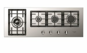 """F4GK42S1 Fulgor 42"""" 400 Series Built-In Frontal Knob Gas Cooktop with Heavy Duty Cast Iron Grates and European Sealed Burners - Stainless Steel"""