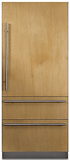 "FBI7360WL Viking 36"" Left Hinge Built-In Bottom Mount Refrigerator with Internal Water Dispenser and LED Lighting - Custom Panel"
