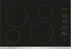 """FFEC3025US Frigidaire 30"""" Electric Smoothop Cooktop with Hot Surface Indicator and Ready-Select Controls - Black with Stainless Steel Trim"""