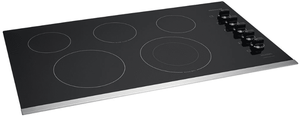 """FFEC3625US Frigidaire 36"""" Electric Smoothtop Cooktop with Ceramic Glass Cooktop and Hot Surface Indicator  - Black with Stainless Steel Trim"""