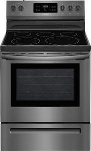 """FFEF3054TD Frigidaire 30"""" Freestanding Electric Range with Quick Boil and Store-More Storage Drawers - Black Stainless Steel"""