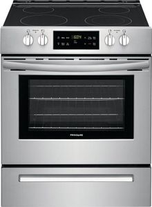 FFEH3051VS Frigidaire 30'' Electric Front Control Range with Even Bake Technology and Space Wise Expandable Element - Stainless Steel