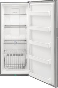 "FFFU16F2VV Frigidaire 28"" 15.5 Cu. Ft. All Freezer with Even Temp Cooling System and Door Ajar Alarm - Brushed Steel"