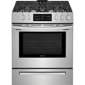 FFGH3054US Frigidaire  30'' Gas Front Control Freestanding Range with StoreMore Storage Drawer and Hidden Back Element - Stainless Steel