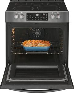 FGEH3047VD Frigidaire 30'' Electric Front Control Freestanding Range with True Convection and Air Fry - Smudge Proof Black Stainless Steel