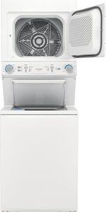 "FLCG7522AW Frigidaire 27"" Gas Stacked Laundry Center with 3.9 cu ft Washer and 5.6 cu. ft. Gas Dryer - White"