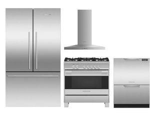 "Package FPAY2 - Fisher & Paykel Appliance Package - 4 Piece Appliance Package with 36"" Gas Range - Stainless Steel"