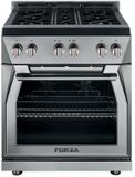 "FR304GN Forza 30"" Pro Style Gas Range with 4 Full Brass Burners - Natural Gas - Stainless Steel"