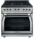 "FR366GN Forza 36"" Pro Style Gas Range with 6 Full Brass Burners - Natural Gas - Stainless Steel"