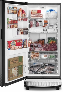 """GAFZ30FDGB Whirlpool 30"""" Gladiator 17.8 cu. ft. Upright All Freezer with Heavy Duty Shelves and Robust Styling - Black"""