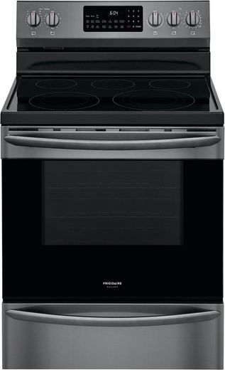"GCRE3060AD Frigidaire 30"" Gallery Series Freestanding Electric Range with Steam Clean Option and Air Fry - SmudgeProof Black Stainless Steel"