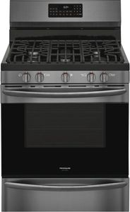 """GCRG3060AD Frigidaire 30"""" Gallery Series Freestanding Gas Range with Steam Clean Option and Air Fry - SmudgeProof Black Stainless Steel"""