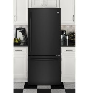 """GDE21EGKBB GE 30"""" 20.9 Cu. Ft. Capacity Bottom Mount Refrigerator with Factory-Installed Icemaker and LED Lighting - Black"""