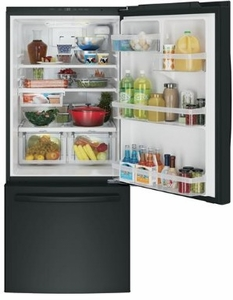 "GDE21EGKBB GE 30"" 20.9 Cu. Ft. Capacity Bottom Mount Refrigerator with Factory-Installed Icemaker and LED Lighting - Black"