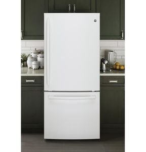 """GDE21EGKWW GE 30"""" 20.9 Cu. Ft. Capacity Bottom Mount Refrigerator with Factory-Installed Icemaker and LED Lighting - White"""