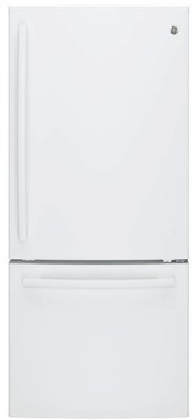 "GDE21EGKWW GE 30"" 20.9 Cu. Ft. Capacity Bottom Mount Refrigerator with Factory-Installed Icemaker and LED Lighting - White"