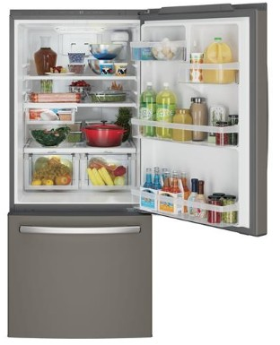 "GDE21EMKES GE 30"" 20.9 Cu. Ft. Capacity Bottom Mount Refrigerator with Factory-Installed Icemaker and LED Lighting - Slate"