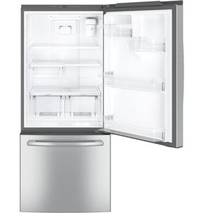 "GDE21ESKSS GE 30"" 20.9 Cu. Ft. Capacity Bottom Mount Refrigerator with Factory-Installed Icemaker and LED Lighting - Stainless Steel"