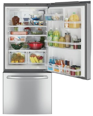 """GDE21ESKSS GE 30"""" 20.9 Cu. Ft. Capacity Bottom Mount Refrigerator with Factory-Installed Icemaker and LED Lighting - Stainless Steel"""