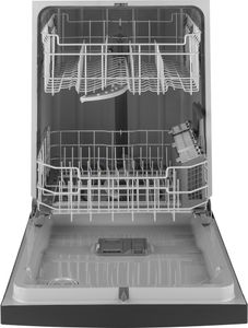 """GDF510PGMBB GE 24"""" Dishwasher with Piranha Food Disposer and DryBoost - Black"""
