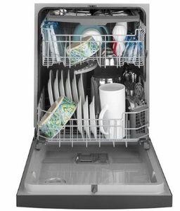 """GDF630PGMBB GE 24"""" Front Control Built In Dishwasher with Dry Boost and Steam Prewash - Black"""