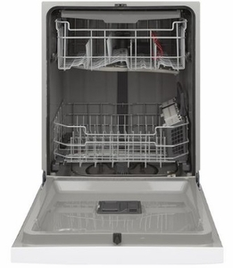 """GDF630PGMWW GE 24"""" Front Control Built In Dishwasher with Dry Boost and Steam Prewash - White"""