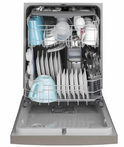 "GDF630PMMES GE 24"" Front Control Built In Dishwasher with Dry Boost and Steam Prewash - Slate"