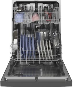 "GDF645SMNES GE 24"" Stainless Interior Front Control Dishwasher with Dry Boost and Piranha Food Dispenser - Slate"