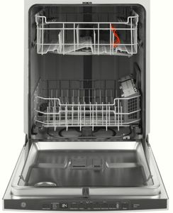 """GDP615HBMTS GE 24"""" Hybrid Stainless Steel Interior Dishwasher with Steam Prewash and DryBoost - Black Stainless Steel"""
