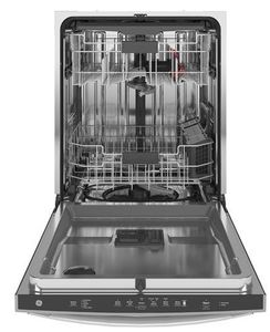 """GDP665SYNFS GE 24"""" Stainless Interior Hidden Control Dishwasher with Dry Boost and Piranha Food Disposer - Fingerprint Resistant Stainless Steel"""