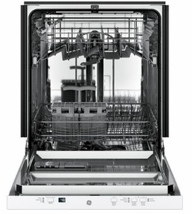 """GDT225SGLWW GE 24"""" Built In Dishwasher with Piranha Hard Food Dispenser and AutoSense Cycle - White"""