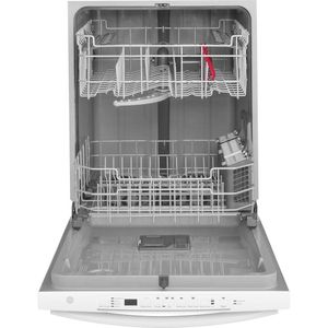 """GDT605PGMWW GE 24"""" Top Control Built-In Dishwasher with Dry Boost and Steam Prewash - White"""