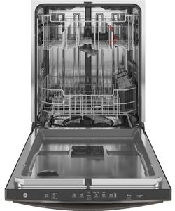 "GDT645SFNDS GE 24"" Stainless Interior Hidden Control Dishwasher with Dry Boost and Piranha Food Disposer - Black Slate"