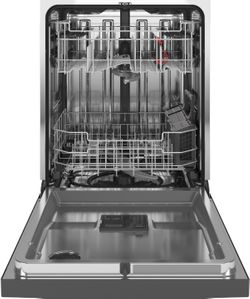 "GDT645SMNES GE 24"" Stainless Interior Hidden Control Dishwasher with Dry Boost and Piranha Food Dispenser - Slate"