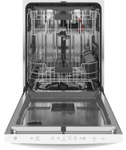 """GDT665SGNWW GE 24"""" Stainless Interior Hidden Control Dishwasher with Dry Boost and Piranha Food Disposer - White"""