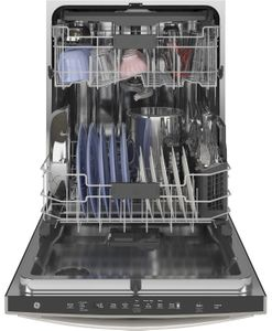 "GDT665SMNES GE 24"" Stainless Interior Hidden Control Dishwasher with Dry Boost and Piranha Food Dispenser - Slate"