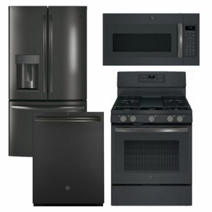 Package GEBS2 - GE Appliance Package - 4 Piece Appliance Package with Gas Range - Includes Free Microwave - Black Slate