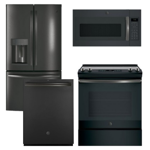 Package GEBS3 - GE Appliance Package - 4 Piece Appliance Package with Slide In Electric Range - Includes Free Microwave - Black Slate