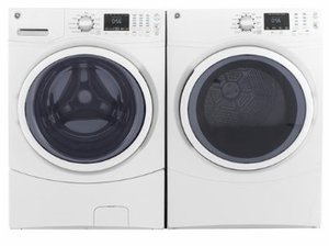 "GFD43ESSMWW GE 27"" 7.5 cu. ft. Front Load Electric Dryer with Dura Drum Interior and Quick Dry - White"